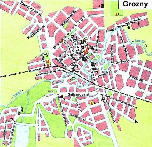 Plan of Grozny town